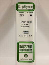 Evergreen Scale Models 213 - OD White Polystyrene Rod .10In x 14In (5 pcs pkg)