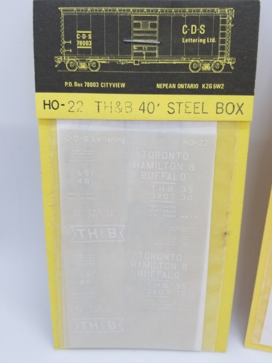CDS Lettering 22 HO Scale - TH&B 40Ft Steel Box - Dry Transfer Lettering Sets - White