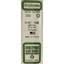 Evergreen Scale Models 223 - OD Opaque White Polystyrene Tubing .093In x 14In (6 pcs pkg)