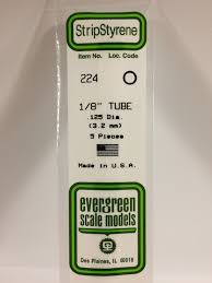 Evergreen Scale Models 224 - OD Opaque White Polystyrene Tubing .125In x 14In (5 pcs pkg)