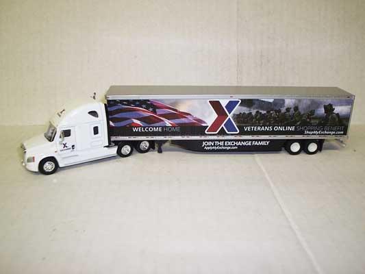 Trucks n Stuff 23107 HO - Cascadia Sleeper-Cab Tractor - 53ft Dry Van Trailer - Exchange