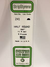 Evergreen Scale Models 241 - Opaque White Polystyrene Half Round .06In x 14In (5 pcs pkg)