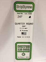 Evergreen Scale Models 247 - Opaque White Polystyrene Quarter Round .04In x 14In (5 pcs pkg)