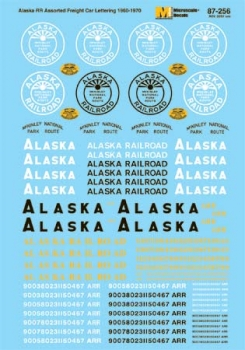 Microscale 87256 HO Scale - Alaska Railroad Freight Cars (1960s-1970s) - Waterslide Decal