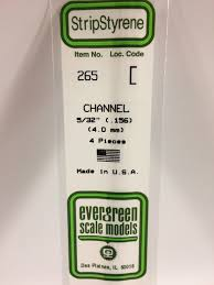 Evergreen Scale Models 265 - Opaque White Polystyrene Channel .156In x 14In (4 pcs pkg)