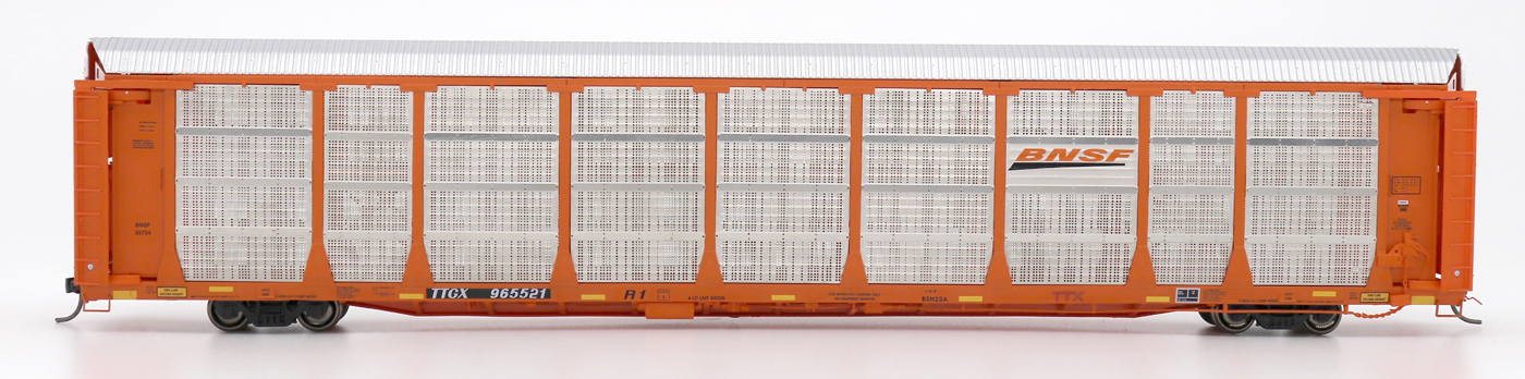 InterMountain 45275-03 HO - Bi-Level Auto Racks - BNSF New Image - Orange Rack on TTGX Flat Car #TTGX 965364