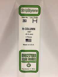 Evergreen Scale Models 283 - Opaque White Polystyrene H-Column .100In x 14In (4 pcs pkg)