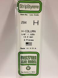 Evergreen Scale Models 284 - Opaque White Polystyrene H-Column .125In x 14In (3 pcs pkg)
