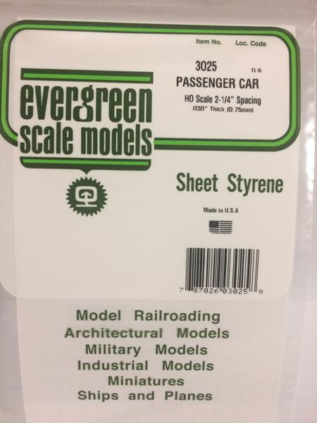 Evergreen Scale Models 3025 .025in Opaque White Polystyrene Passenger Car Siding (1sheet)