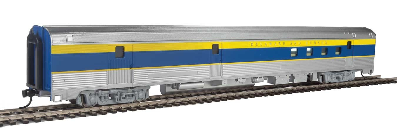 Walthers Mainline 30312 HO - 85ft Budd Baggage-Railway Post Office - Ready To Run - Delaware & Hudson (silver, blue, yellow)