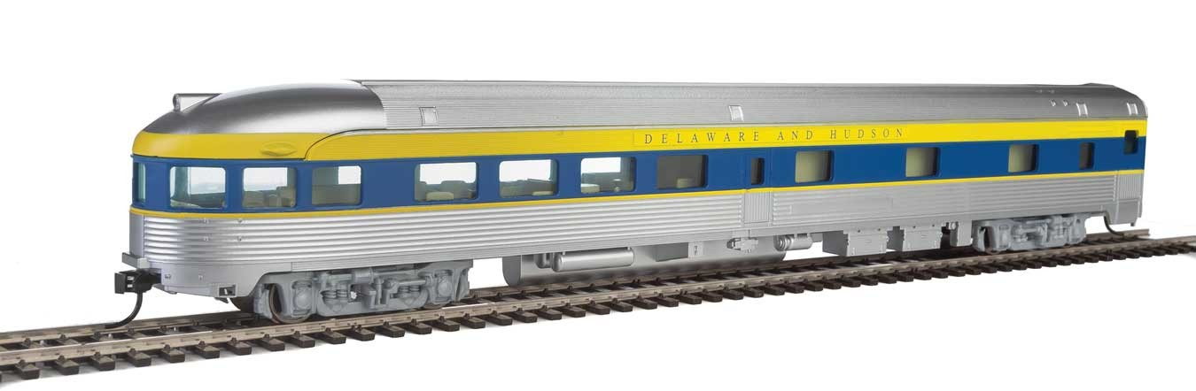 Walthers Mainline 30363 HO - 85ft Budd Observation - Ready To Run - Delaware & Hudson (silver, blue, yellow)