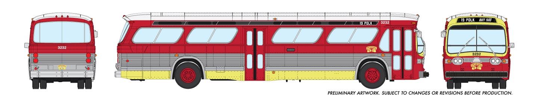Rapido Trains 753056 HO New Look Bus San Francisco (MUNI) Maroon 19 Polk, Navy Yard No.3232 Deluxe