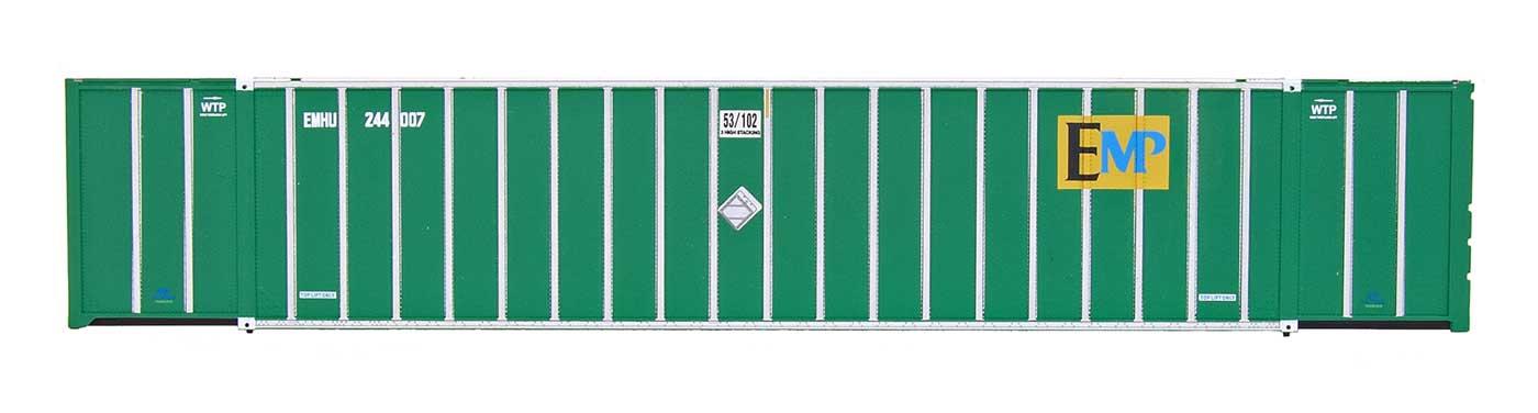 Intermountain Railway 30623 HO Scale 53 Hyundai Hi-Cube Container 2-Pack - Ready to Run -- EMP EMHU (green) 243946/244110     85-30623-05
