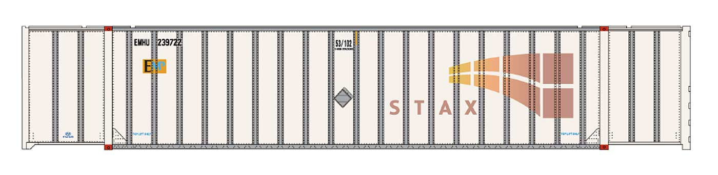 Intermountain Railway 30626 HO Scale 53 Hyundai Hi-Cube Container 2-Pack - Ready to Run -- EMP ex-STAX No Patches - EMHU 240214/241598 85-30625-03