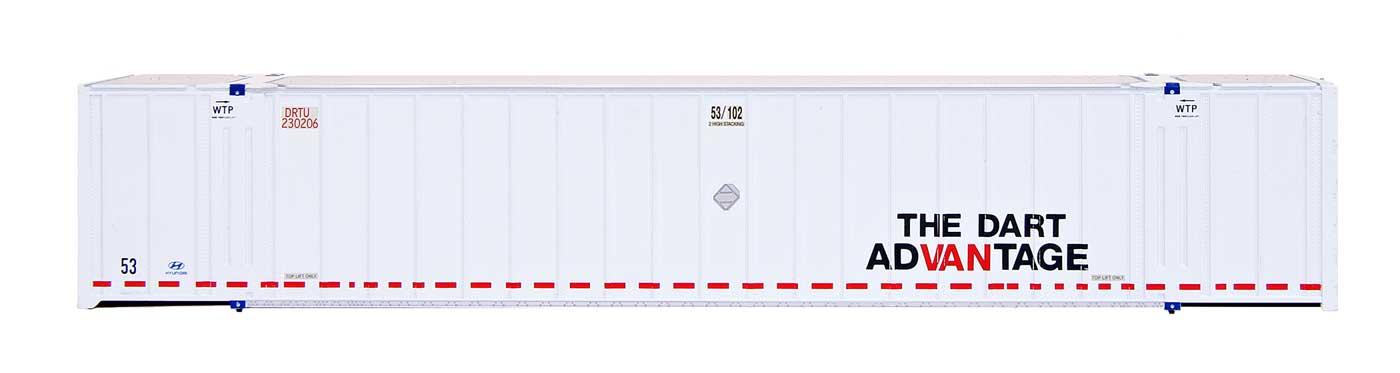 Intermountain Railway 30651 HO Scale 53 Hyundai Hi-Cube Container 2-Pack - Ready to Run -- Dart - DRTU 230216/230234  85-30651-05
