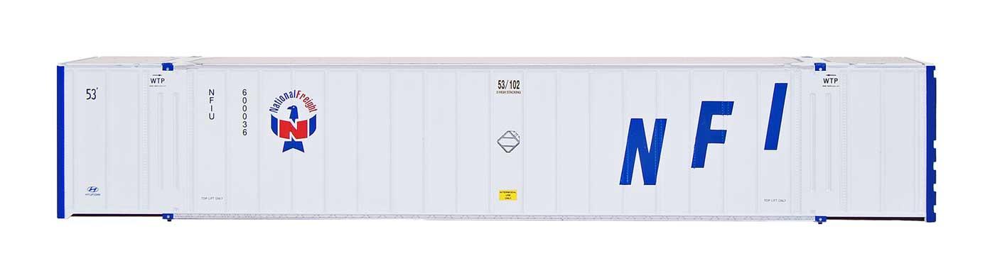 Intermountain Railway 30652 HO Scale 53 Hyundai Hi-Cube Container 2-Pack - Ready to Run -- NFI - NFIU 600022/600169  85-30652-05