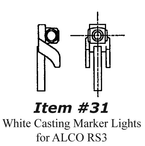Kit Bit Car Accessories 31 HO Scale - White Casting Marker Lights for ALCO RS Type Locos - pkg(4)