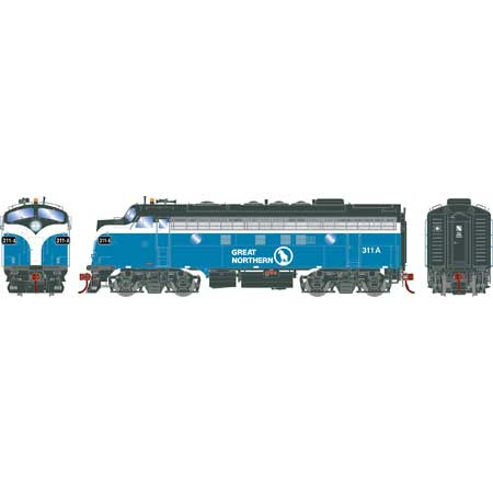 Athearn Genesis G19528 HO Scale - F7A EMD F-Unit Diesel - DCC & Sound - Great Northern#311A