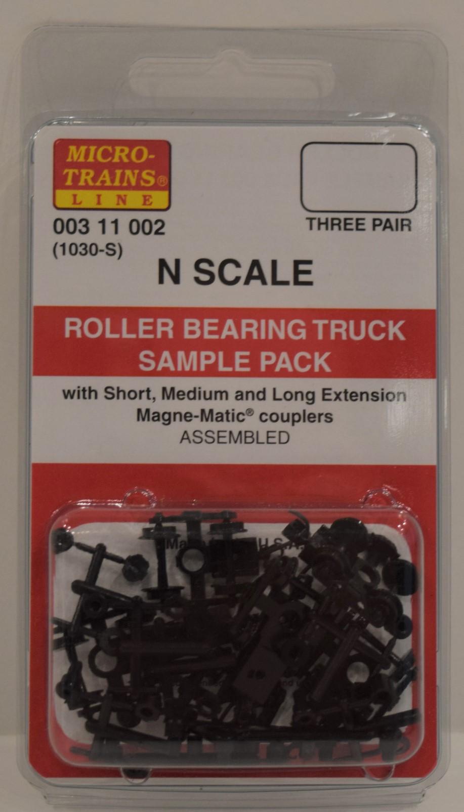 MicroTrains 311002 - N scale Roller Bearing Trucks Sampler Pack - 1 Pair Each #302031, 302034 & 302022