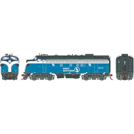 Athearn Genesis G19529 HO Scale - F7A EMD F-Unit Diesel - DCC & Sound - Great Northern#311C