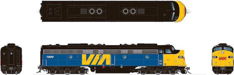 Rapido 28544 HO - EMD E8A (DC/DCC/Sound) VIA Rail Canada #1802