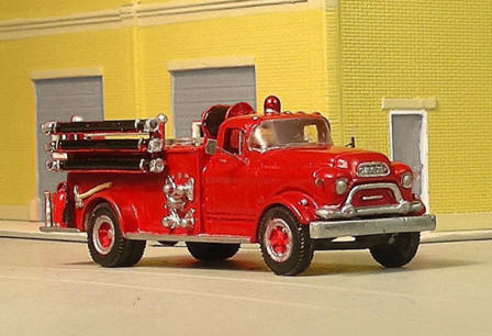 Sylvan Scale Models 323 HO Scale - 1955-57 GMC 630 with LaFrance Pumper - Unpainted and Resin Cast Kit