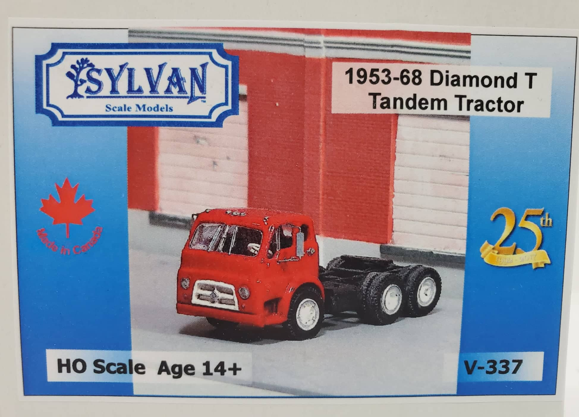 Sylvan Scale Models 337 HO Scale - 1953/68 Diamond T734 Tandem Tractor - Unpainted and Resin Cast Kit