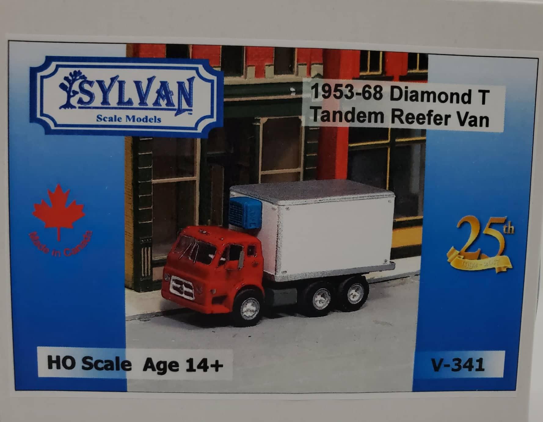 Sylvan Scale Models 341 HO Scale - 1953/68 Diamond T734 Tandem Reefer Van - Unpainted and Resin Cast Kit
