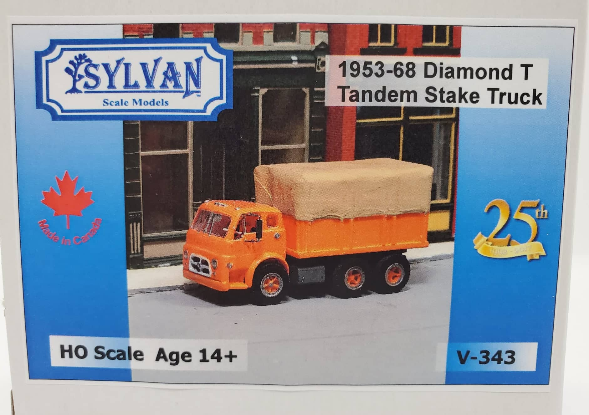 Sylvan Scale Models 343 HO Scale - 1953/68 Diamond T Tandem Stake Truck - Unpainted and Resin Cast Kit