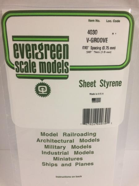 Evergreen Scale Models 4030 .030in Opaque White Polystyrene V Groove Siding (1 Sheet)