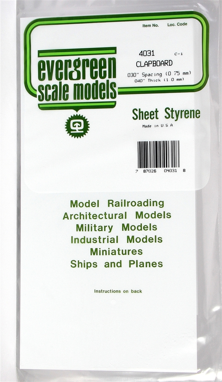 Evergreen Scale Models 4031 0.30in Opaque White Polystyrene Clapboard Siding (1sheet)