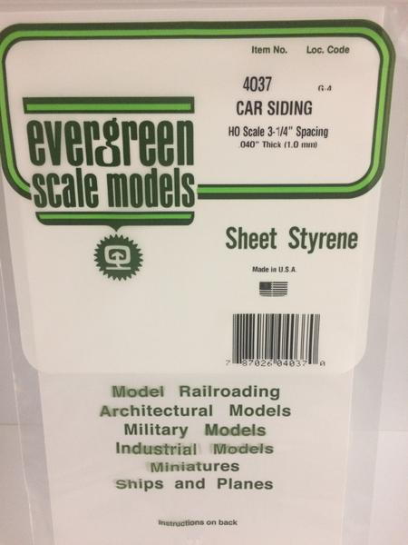Evergreen Scale Models 4037 .037in Opaque White Polystyrene HO scale Freight Car Siding (1sheet)
