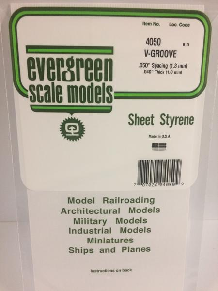 Evergreen Scale Models 4050 .050in Opaque White Polystyrene V Groove Siding (1sheet)