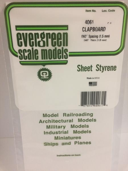 Evergreen Scale Models 4061 .060in Opaque White Polystyrene Clapboard Siding (1sheet)