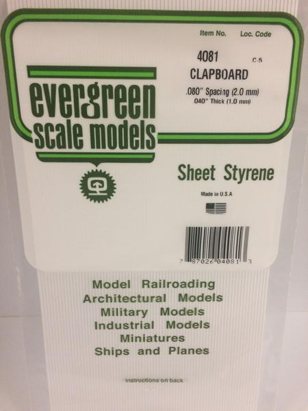 Evergreen Scale Models 4081 .080in Opaque White Polystyrene Clapboard Siding (1sheet)