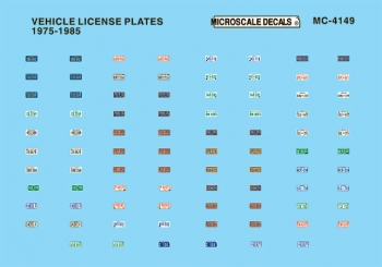 Microscale MC-4149 HO Scale - Vehicle License Plates 1975-1985 - Waterslide Decal