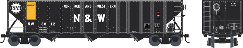 Bowser 42385 - HO RTR - 100 Ton Hopper Car - N&W Wood Chip Loading #3859