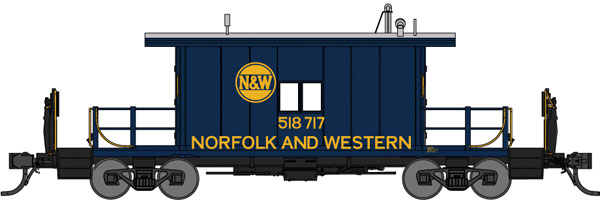 Bluford Shops HO 33091 Transfer Caboose with Long Roof, Norfolk & Western #518730