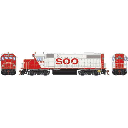 Athearn Genesis G68857 HO Scale - GP38-2 - DCC & Sound - SOO/White w/red letters #4404