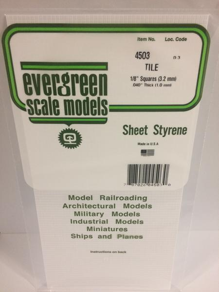 Evergreen Scale Models 4503 - 1/8in x 1/8in Opaque White Polystyrene Square Tile (1sheet)