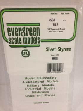 Evergreen Scale Models 4504 - 1/6in x 1/6in Opaque White Polystyrene Square Tile (1sheet)
