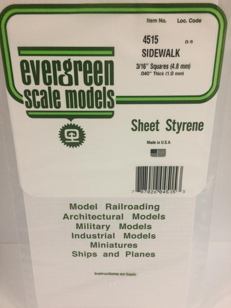 Evergreen Scale Models 4515 - 3/16in x 3/16in Opaque White Polystyrene Sidewalk (1 Sheet)