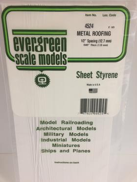Evergreen Scale Models 4524 - .040in x .500in Opaque White Polystyrene Standing Seam Roofing (1 Sheet)