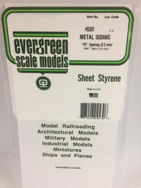 Evergreen Scale Models 4530 - .125in Opaque White Polystyrene Corrugated Siding (1 Sheet)