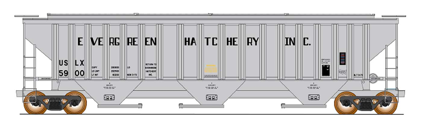 Intermountain 453109-04 HO - 4750 Cubic Foot Rib-Sided - 3-Bay Covered Hopper - Evergreen Fish Hatchery #5903