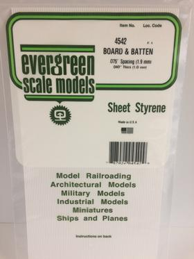 Evergreen Scale Models 4542 - .075in Opaque White Polystyrene Board and Batten Siding (1 Sheet)