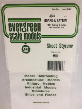 Evergreen Scale Models 4543 - .100in Opaque White Polystyrene Board and Batten Siding (1 Sheet)