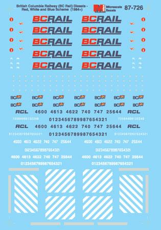 Microscale Railroad Decal Set British Columbia Railway (BCOL) BC Rail -Diesels 1990+ 87-726