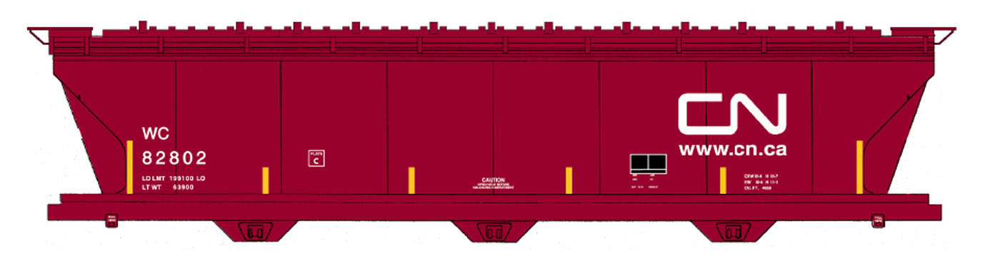 Intermountain 67091-01 - N ACF 4650 Cubic Ft. 3-Bay Hoppers - Wisconsin Central #82801