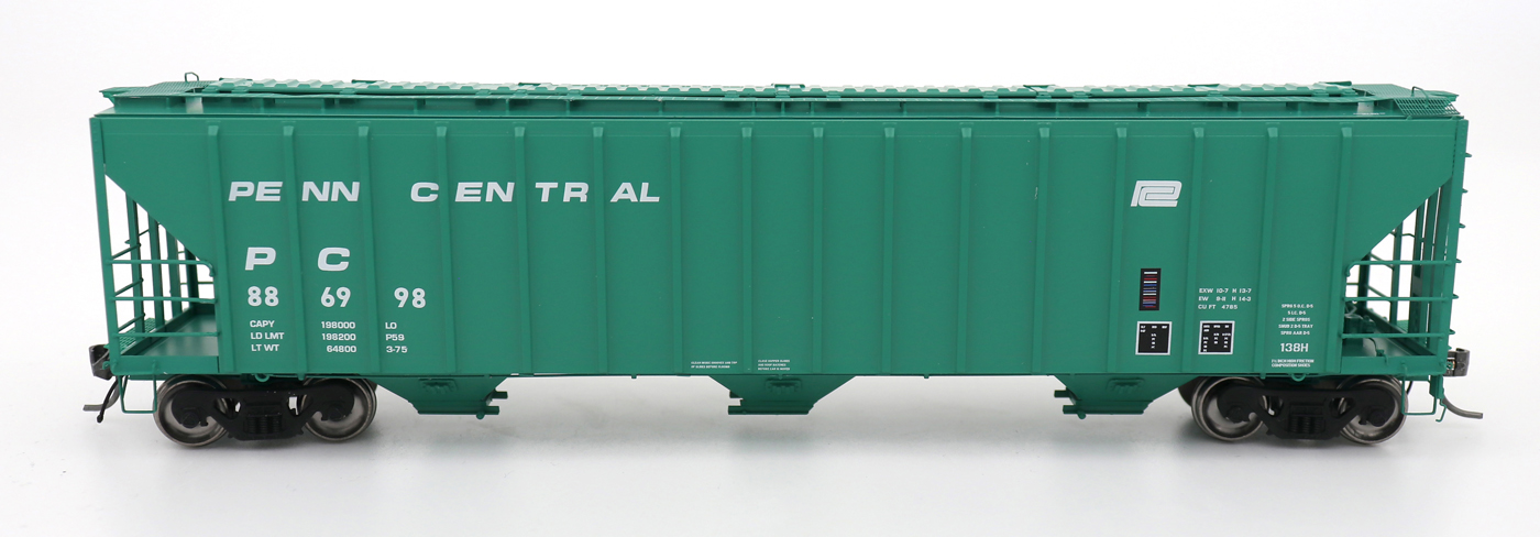 Intermountain 472205-05 HO Scale - 4785 PS2-CD Covered Hopper - Early End Frame - Penn Central - Green Repaint #886939